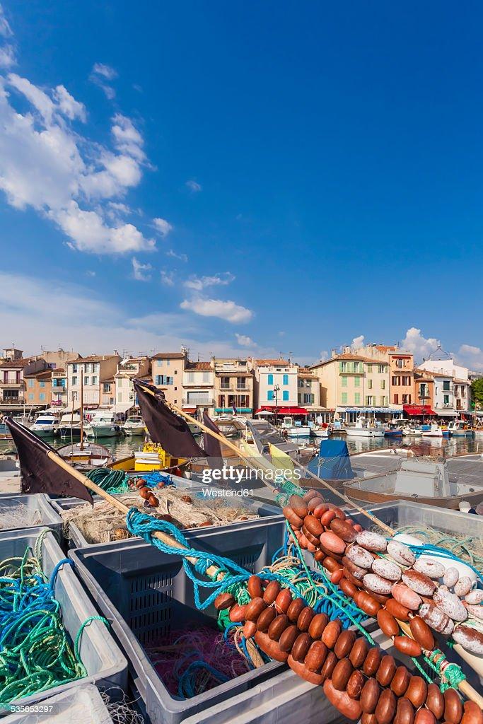 France, Provence-Alpes-Cote dAzur, Bouches-du-Rhone, Cassis, Fishing nets at harbour