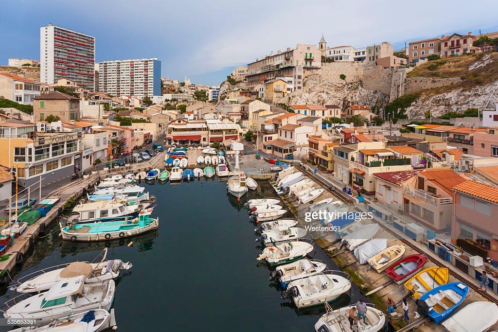 France, Provence-Alpes-Cote dAzur, Bouches-du-Rhone, Marseille, Vallon des Auffes, Fishing Harbour