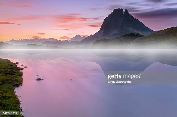 France, Pyrenees, Mountain Ossau, Mountain peak reflecting in water