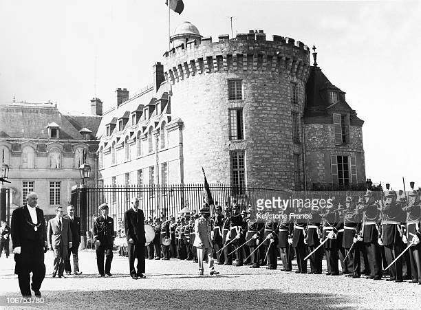 France Rambouillet General De Gaulle And The Ethiopia Emperor Haile Selassie Leaving The Castle On July 22Nd 1959