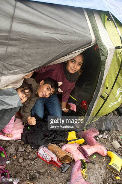 France Refugees Grande Synthe camp near Dunkirk People are camping in a wood with very few facilities Three children from a Kurdish family from Iraq...