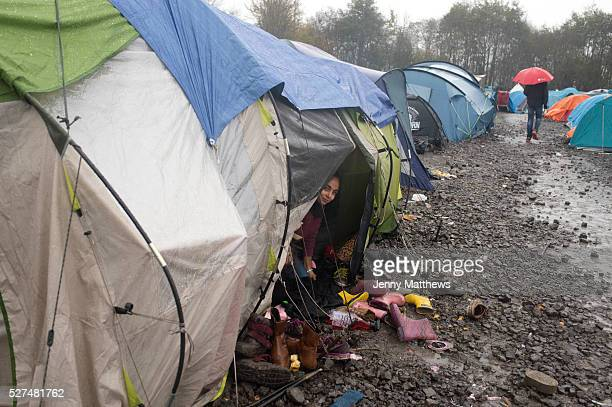 France Refugees Grande Synthe camp near Dunkirk People are camping in a wood with very few facilities A child from a Kurdish family from Iraq...