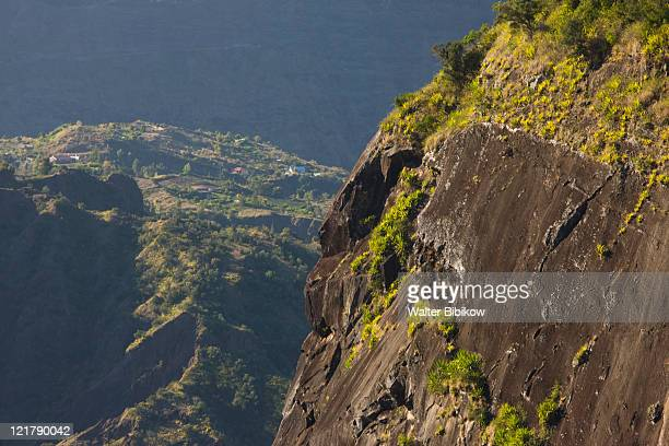 France, Reunion Island, Cirque de Cilaos, mountain vista along road to Ilet-a-Cordes
