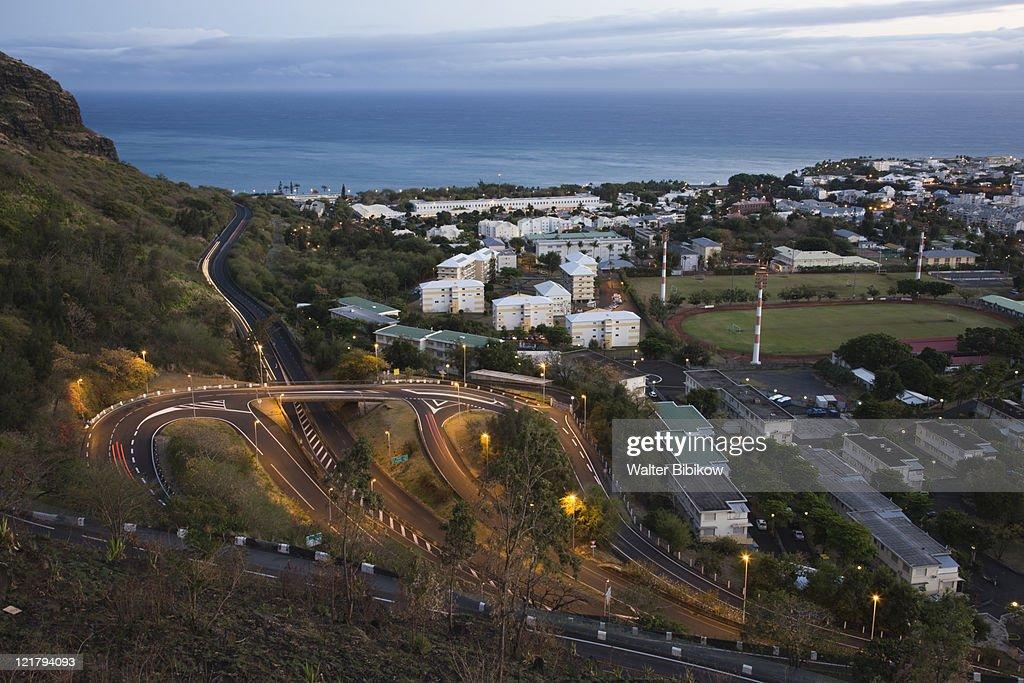France, Reunion Island, St-Denis, La Montaigne mountain road at dawn