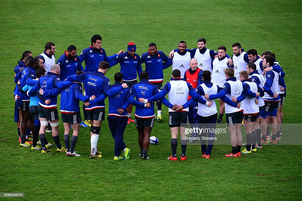 France rugby national team embrace during a training session at National center of rugby ahead of their Six Nations match against Ireland, on February 9, 2016 in Marcoussis, Paris, France.