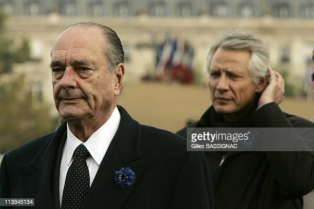 France S President Jacques Chirac Prime Minister Dominique De Villepin And Defence Minister Michelle AlliotMarie Attend A Ceremony Marking The 88Th...