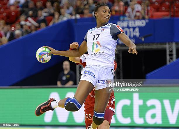 France 's Siraba Dembele scores a goal in the Papp Laszlo Arena of Budapest on December 19 2014 during their 5th place match of Women's European...