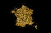 France shaped from golden glitter on a black background (series)