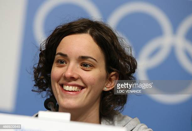 France short track skater Veronique Pierron gives a press conference on February 5 2014 prior to the start of the 2014 Sochi Winter Olympic Games AFP...