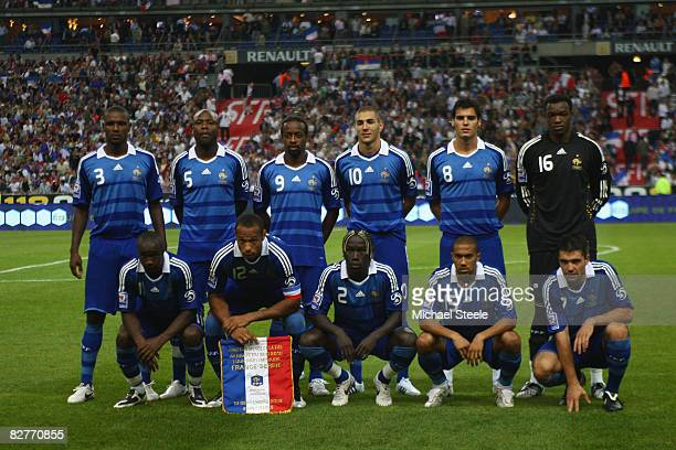France starting team during the FIFA 2010 Group Seven World Cup Qualifying match between France and Serbia at the Stade de France on September 10...