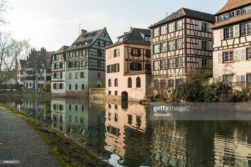 France, Strasbourg, La Petite France, old buildings at riverside of Ill