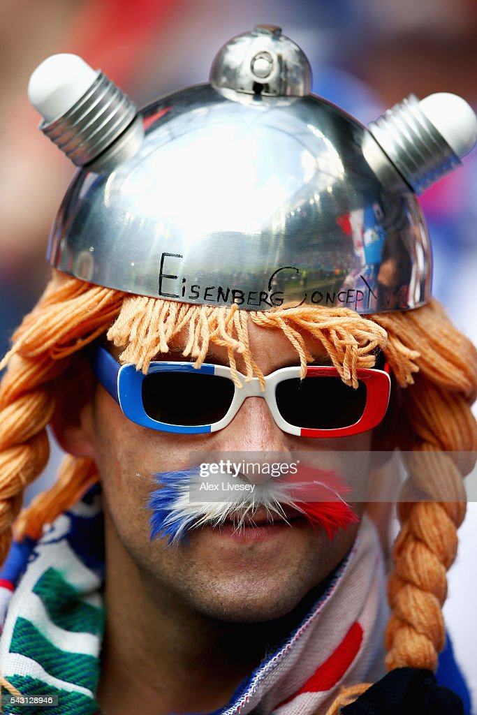 A France supporter is seen prior to the UEFA EURO 2016 round of 16 match between France and Republic of Ireland at Stade des Lumieres on June 26, 2016 in Lyon, France.