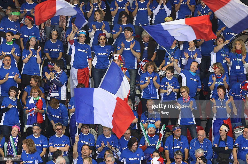 France supporters cheer on their team during day one of the Davis Cup first round match between France and Israel at the Kindarena stadium on February 1, 2013 in Rouen, France.