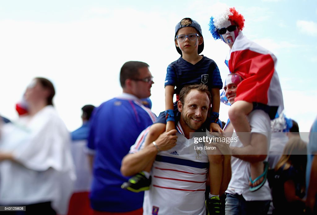 France supporters enjoy the atmosphere prior to the UEFA EURO 2016 round of 16 match between France and Republic of Ireland at Stade des Lumieres on June 26, 2016 in Lyon, France.