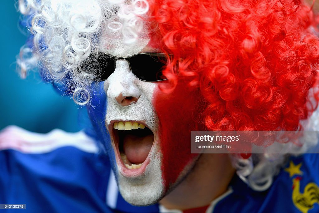 A France supporters enjoys the atmosphere prior to the UEFA EURO 2016 round of 16 match between France and Republic of Ireland at Stade des Lumieres on June 26, 2016 in Lyon, France.