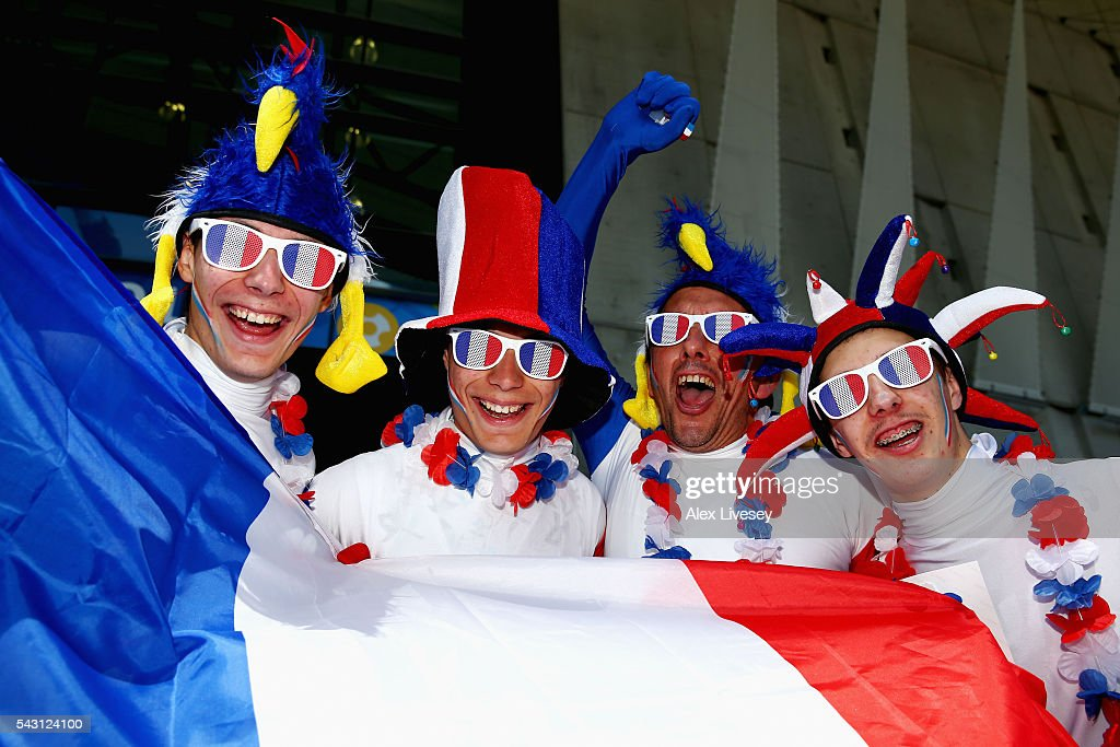 France supporters pose for photographs prior to the UEFA EURO 2016 round of 16 match between France and Republic of Ireland at Stade des Lumieres on June 26, 2016 in Lyon, France.