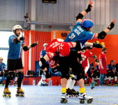 France takes on Canada in the Men's Roller Derby World Cup at Futsal Arena on March 16 2014 in Birmingham England