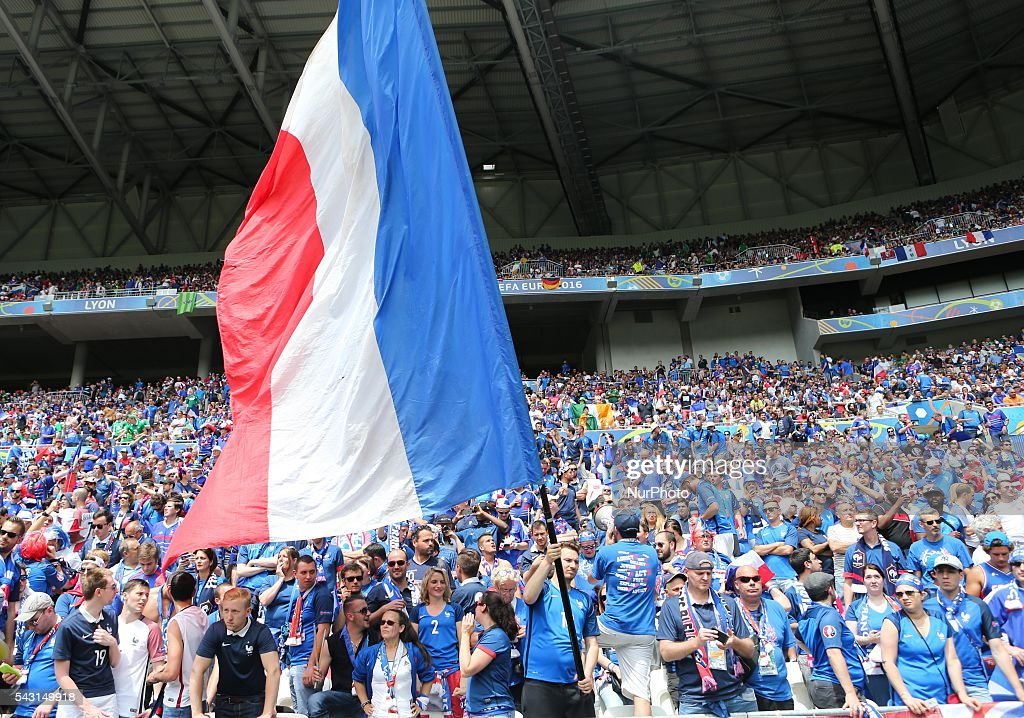 France team fans, during the UEFA EURO 2016 round of 16 match between France and Republic of Ireland at Stade des Lumieres on June 26, 2016 in Lyon, France.
