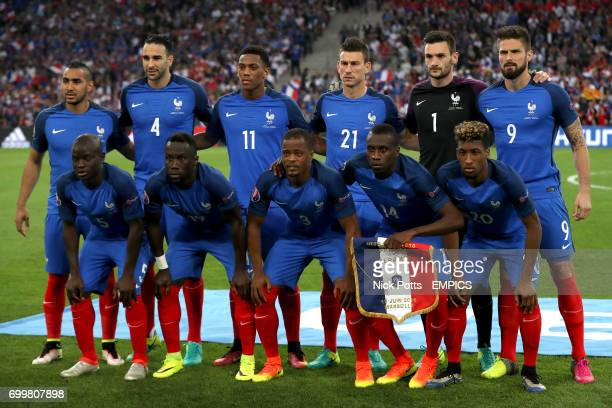 France team group France's Dimitri Payet Adil Rami Anthony Martial Laurent Koscielny Hugo Lloris and Oliver Giroud France's N'Golo Kante Bacary Sagna...