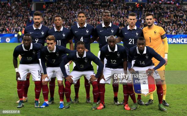 Bacary Sagna Antoine Griezmann Patrice Evra Lassana Diarra and Blaise Matuidi Back Row Olivier Giroud Anthony Martial Raphael Varane Paul Pogba...