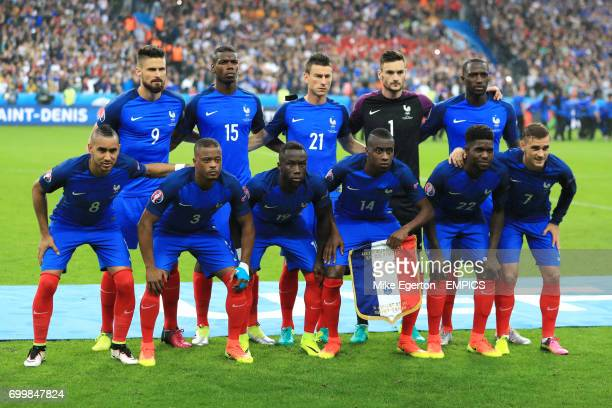 France team group Olivier Giroud Paul Pogba Laurent Koscielny goalkeeper Hugo Lloris and Moussa Sissoko Dimitri Payet Patrice Evra Bacary Sagna...