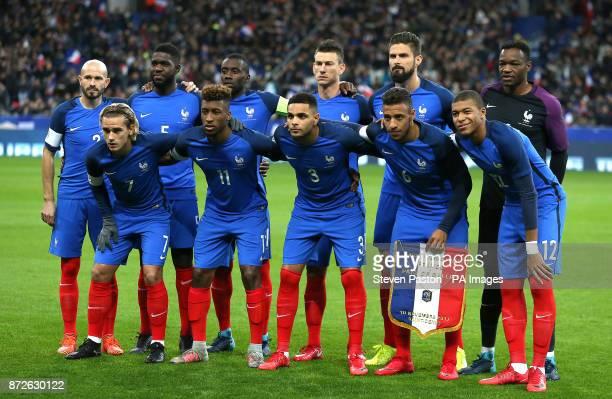 France team group Top row Christophe Jallet Samuel Umtiti Blaise Matuidi Laurent Koscielny Olivier Giroud and Steve Mandanda Bottom Row Antoine...