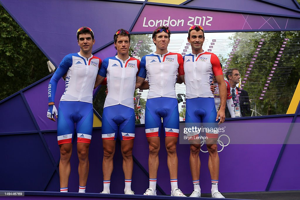 France team pose ahead of the Men's Road Race Road Cycling on day 1 of the London 2012 Olympic Games on July 28, 2012 in London, England.