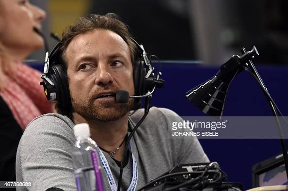 France Television commentator Phillipe Candelloro watches during the ladies free skating program of the 2015 ISU World Figure Skating Championships...