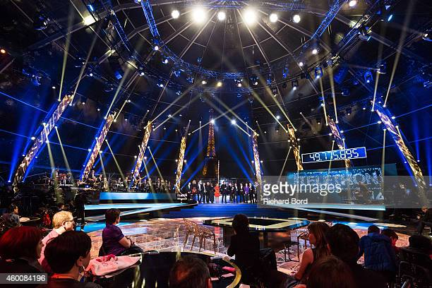 France Television Presenters perform onstage during the 'France Television Telethon 2014' TV show on December 6 2014 in Paris France