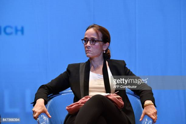 France Televisions group president Delphine Ernotte attends a debate during the 19th edition of the 'Festival de fiction TV' in La Rochelle western...