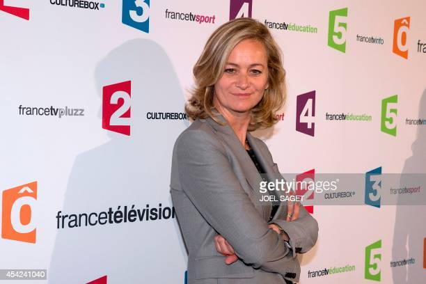 France Televisions host Guilaine Chenu poses during a photocall for French TV group new season's launching on August 26 2014 in Paris AFP PHOTO JOEL...