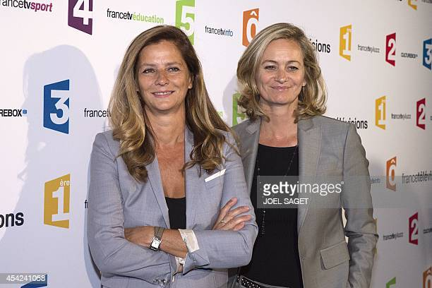 France Televisions hosts Françoise Joly and Guilaine Chenu pose during a photocall for French TV group new season's launching on August 26 2014 in...