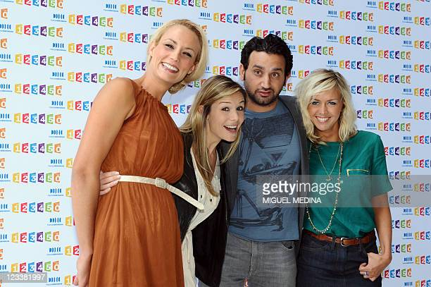 France Television's Tv host Elodie Gossuin Louise Ekland Cyril Hanouna and Enora Malagre pose during a photocall at the France Television...