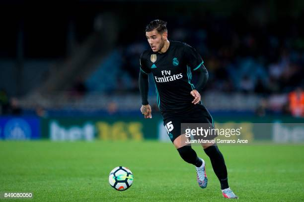 France Theo Hernandez of Real Madrid controls the ball during the La Liga match between Real Sociedad de Futbol and Real Madrid at Estadio Anoeta on...