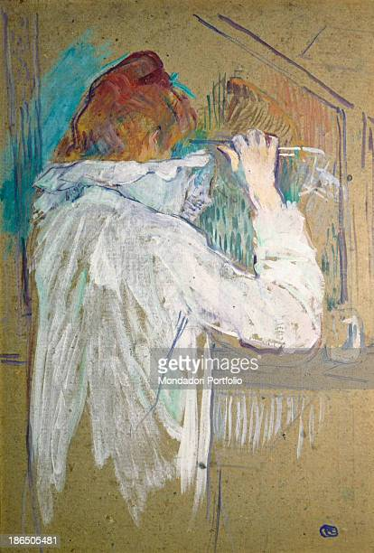 France Toulouse Fine Art Museum Musée des Augustins Whole artwork view A woman wearing a nightgown is combing her hair
