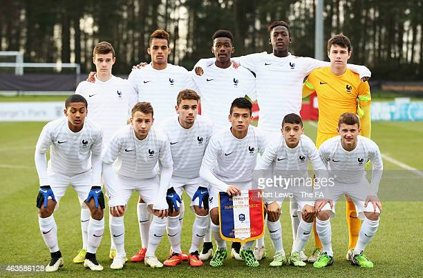 France U16's line up against Slovakia during the UEFA Under16 Development Tournament match between Slovakia U16 and France U16 at St Georges Park on...