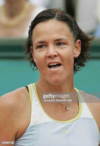 US Lindsay Davenport reacts after winning against Belgium Kim Clijsters after their fourth round match of the tennis French Open at Roland Garros 29...