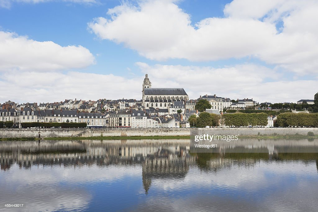 France, View of Jacques Gabriel bridge and Saint Louis cathedral