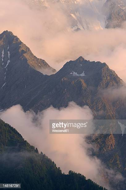 France, View of Mont Blanc massif at sunset