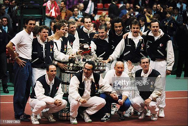 France winner of tennis Davis cup against the USA in Lyon France On December 01 1991
