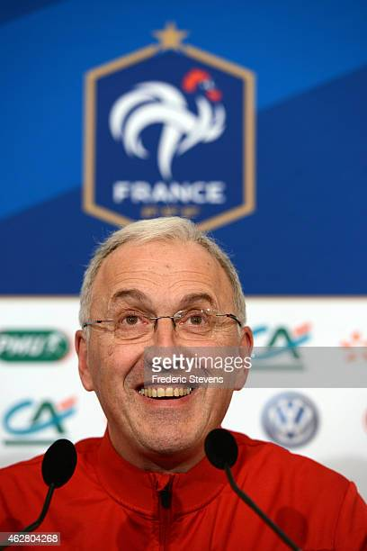 France women team head coach Philippe Bergeroo during a press conference at center training of the French national football team on February 5...