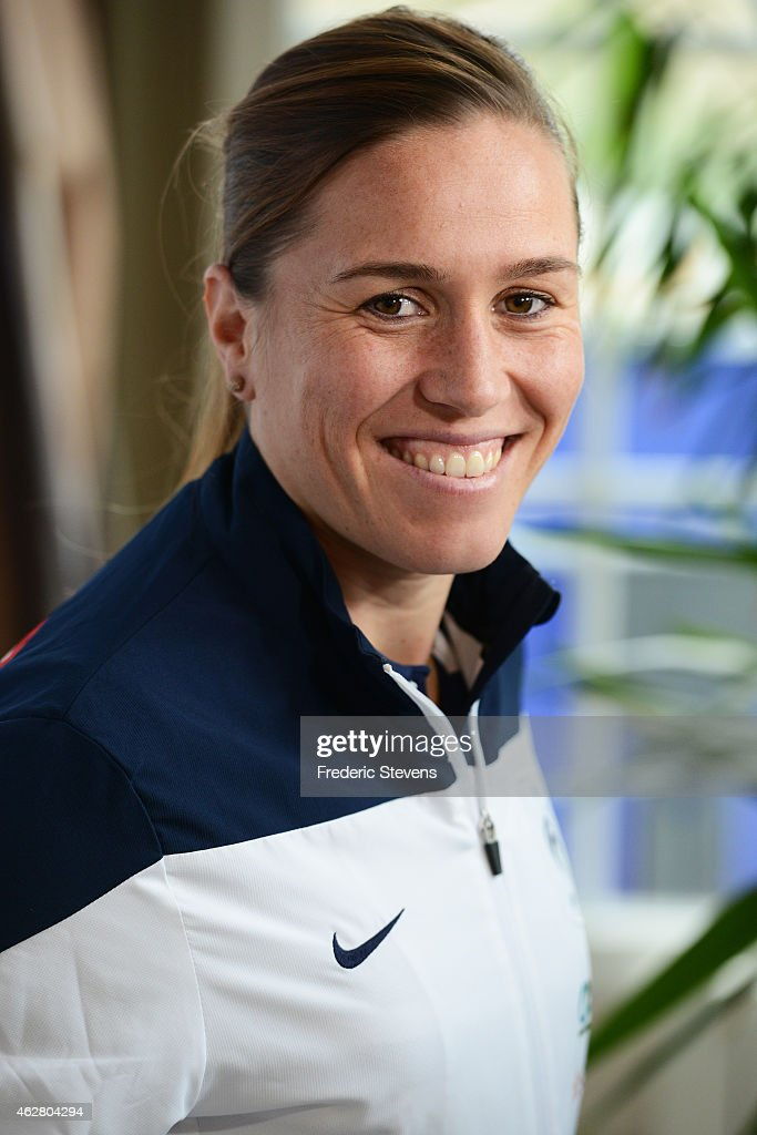France women team midfielder <a gi-track='captionPersonalityLinkClicked' href=/galleries/search?phrase=Camille+Abily&family=editorial&specificpeople=2151492 ng-click='$event.stopPropagation()'>Camille Abily</a> during a press conference at the French national football team training base in Clairefontaine-en-Yvelines on the first day of training ahead of their friendly football match against USA on February 5, 2015 in Clairefontaine, France. The FIFA Women's World Cup 2015 will take place In Canada on 06 June - 05 July.