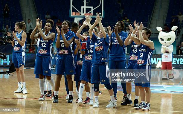 France women's national basketball team celebrates after the FIBA Women World Championship 2014 Classification 78 match between Serbia and France in...