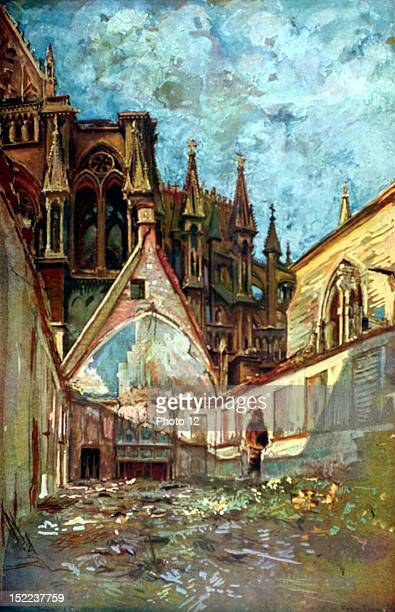 France World War I Rheims ruins of the Kings' Hall in the archiepiscopal palace Watercolor by Charles Duvent