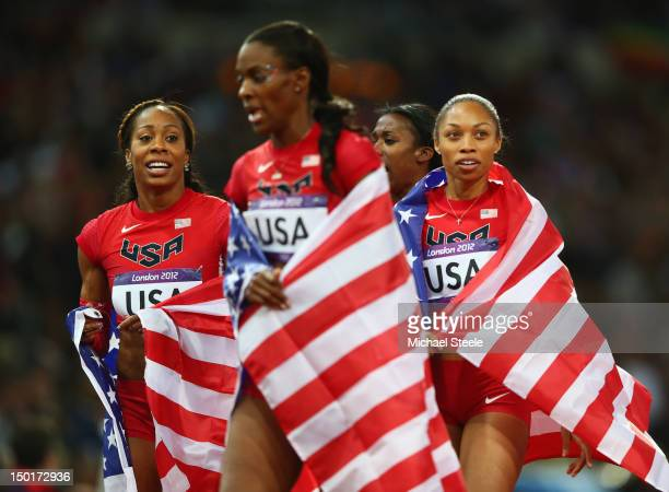 Francena McCorory Allyson Felix DeeDee Trotter and Sanya RichardsRoss of the United States celebrate winning gold in the Women's 4 x 400m Relay Final...