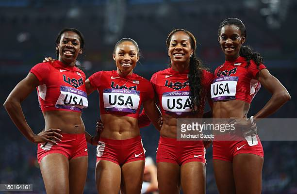 Francena McCorory Allyson Felix Sanya RichardsRoss and DeeDee Trotter of the United States celebrate winning gold in the Women's 4 x 400m Relay Final...