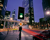 France,Paris,downtown intersection with traffic lights (long exposure)