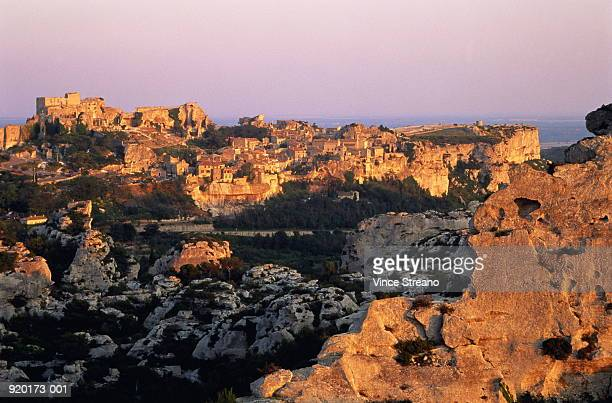 France,Provence,Les Baux,village in mountains,late afternoon