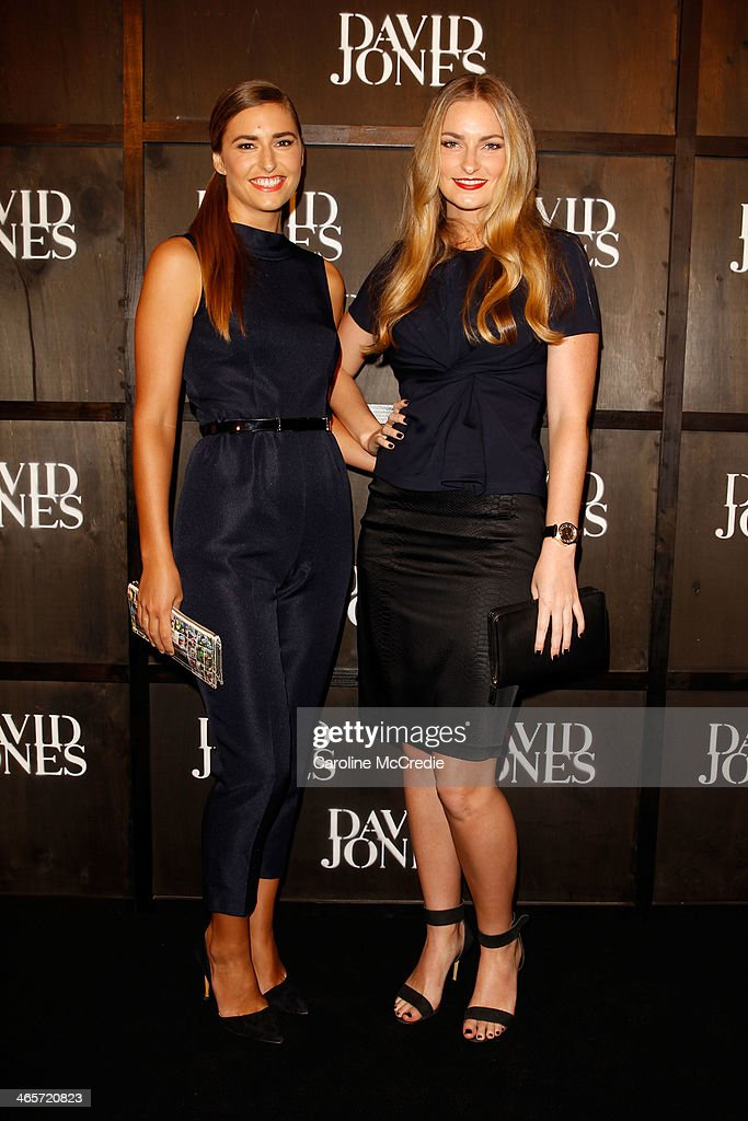 Frances Abbott and Bridget Abbott arrive at the David Jones A/W 2014 Collection Launch at the David Jones Elizabeth Street Store on January 29, 2014 in Sydney, Australia.