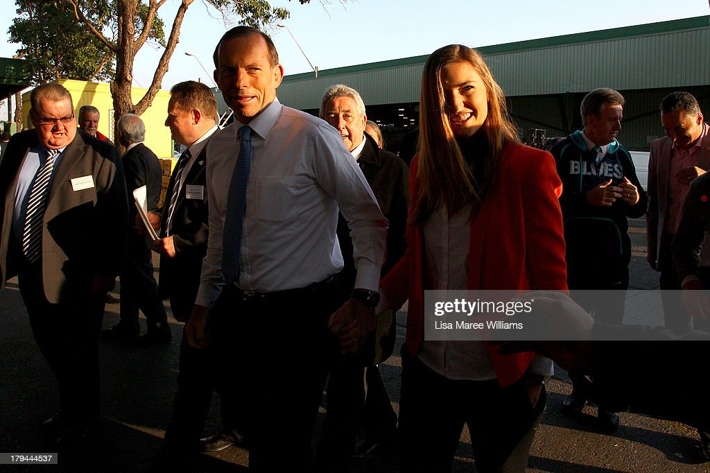 Frances Abbott joins her father Australian Opposition Leader, <a gi-track='captionPersonalityLinkClicked' href=/galleries/search?phrase=Tony+Abbott&family=editorial&specificpeople=220956 ng-click='$event.stopPropagation()'>Tony Abbott</a> on the campaign at Sydney Markets on September 4, 2013 in Sydney, Australia. With just three days of campaigning before Saturday's Federal Election it looks increasingly unlikely that the Australian Labor Party will hold on to government as the Liberal-National Party coalition pulls ahead in polling.